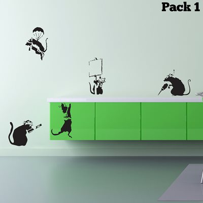 BANKSY WALL STICKER in 'Rat Pack' design