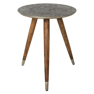 BAST SIDE TABLE in Embossed Metal Finish