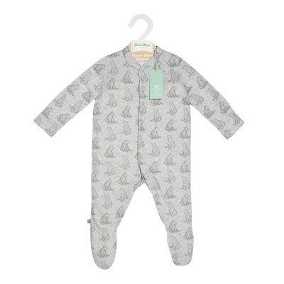 WILD COTTON ORGANIC BABY SLEEPSUIT in Bear Design
