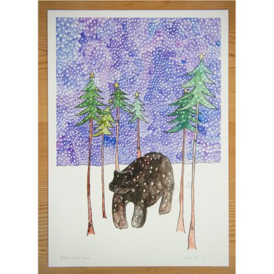 BEAR IN THE SNOW ILLUSTRATED PRINT by Sarah Lovell