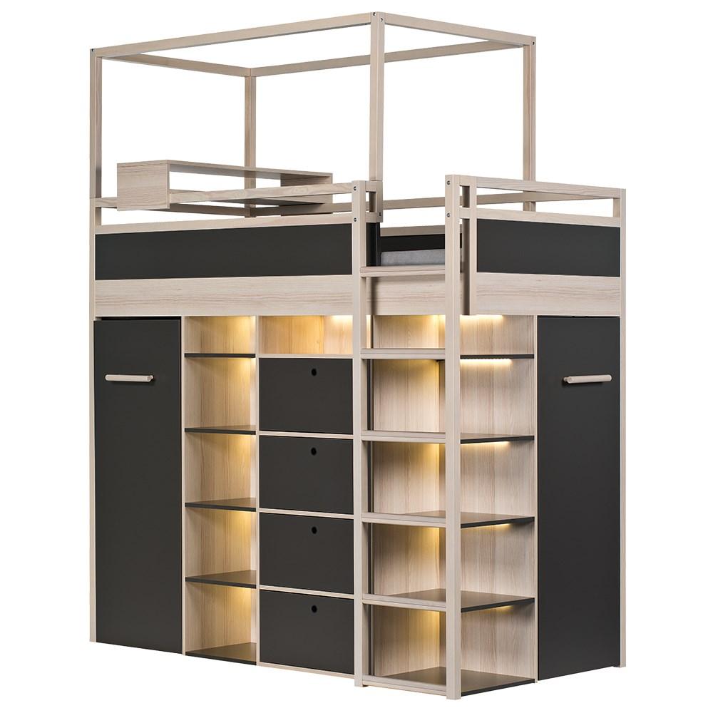 Vox Spot High Sleeper Storage Kids Bed In Acacia & White ...