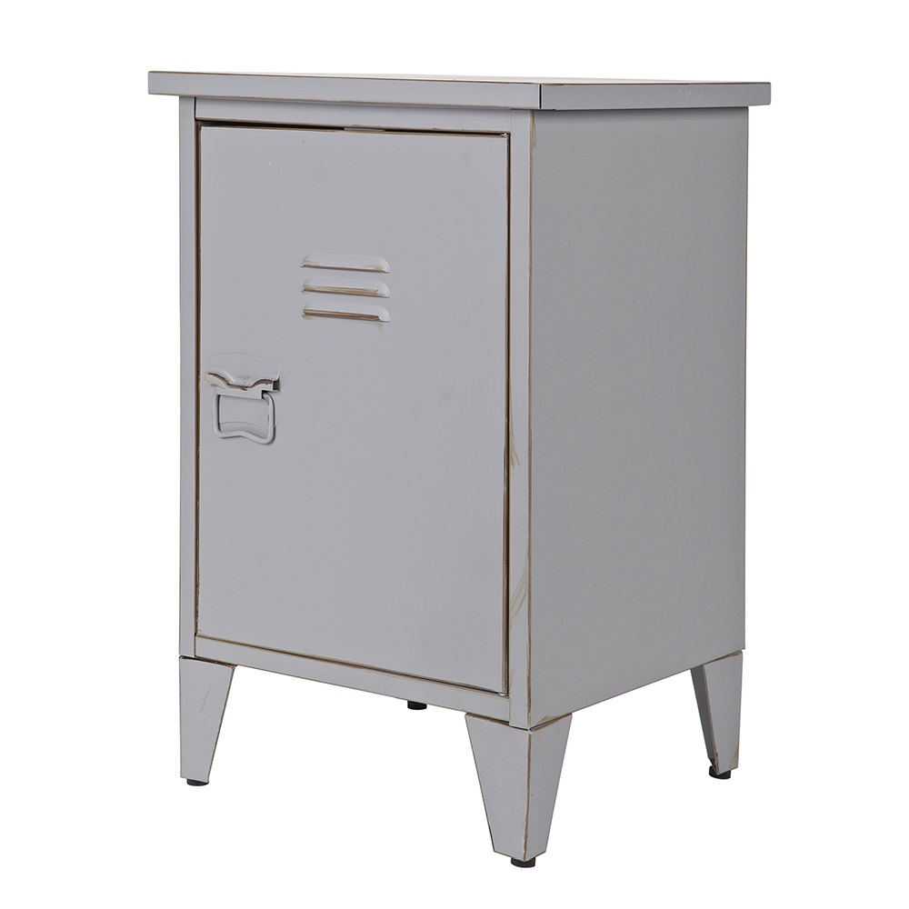 Max metal locker bedside table in grey cabinets drawers - Table chevet maison du monde ...