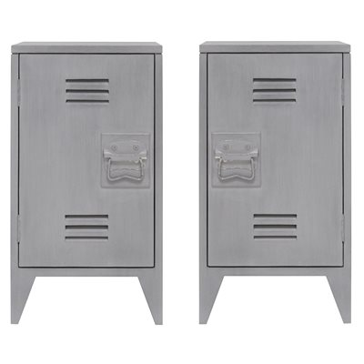 PAIR OF INDUSTRIAL STYLE BEDSIDE CABINETS in Grey