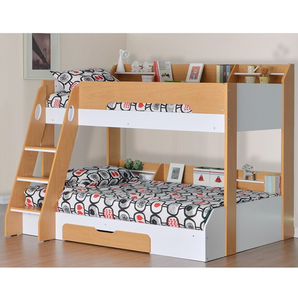 Flick Triple Bunk Bed in Beech and White
