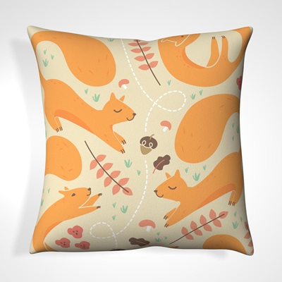 CUSHION in Beige Happy Squirrel Design