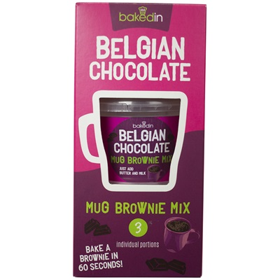 BAKEDIN BELGIAN CHOCOLATE MUG BROWNIE MIX pack of 3