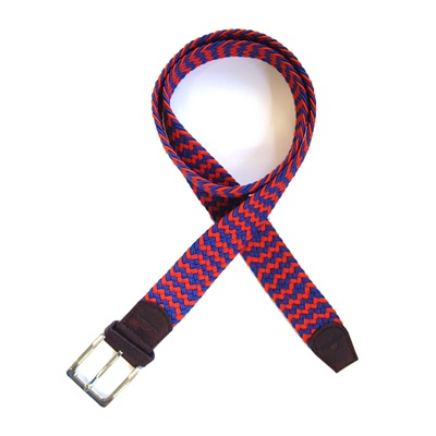 KNITTED BELT in Red and Blue Zig Zag Design