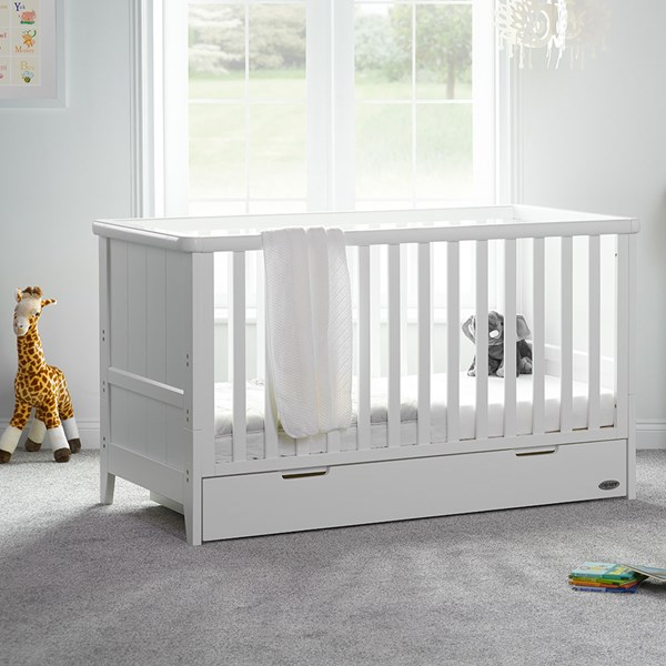 Obaby Belton Cot Bed with Storage Drawer in White