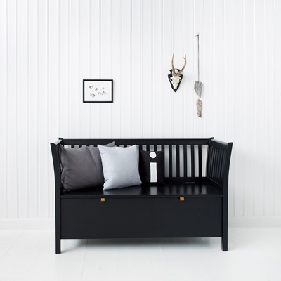OLIVER FURNITURE SMALL BENCH in Seaside Black