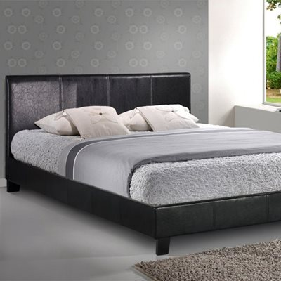 BERLIN BED FRAME in Black Faux Leather by Birlea