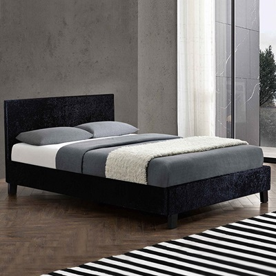 BERLIN UPHOLSTERED BED in Black Crushed Velvet by Birlea