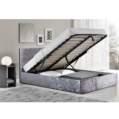 BERLIN UPHOLSTERED OTTOMAN BED in Steel by Birlea