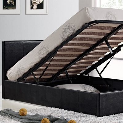 BERLIN OTTOMAN BED in Faux Black Leather by Birlea