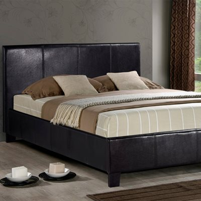 BERLIN BED FRAME in Brown Faux Leather by Birlea