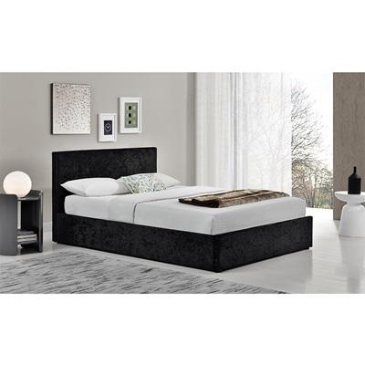 BERLIN UPHOLSTERED OTTOMAN BED in Black Crushed Velvet by Birlea