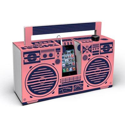 BERLIN BOOMBOX DIY CARDBOARD SMARTPHONE SPEAKER in Pink