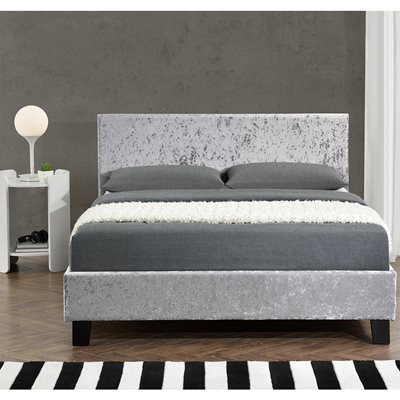 BERLIN UPHOLSTERED BED in Steel by Birlea