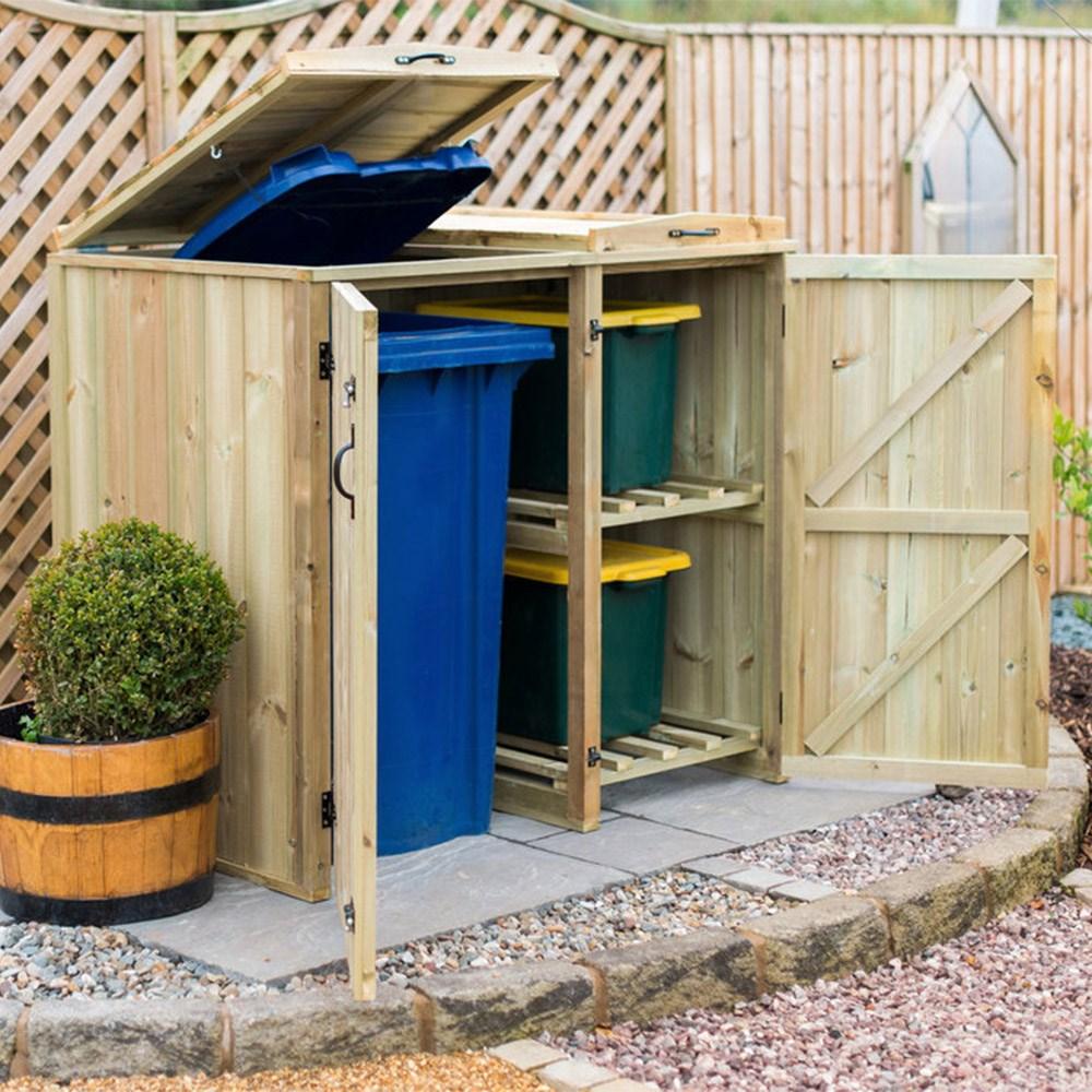 Garden Village Superior Wooden Wheelie Bin Recycling Box Storage