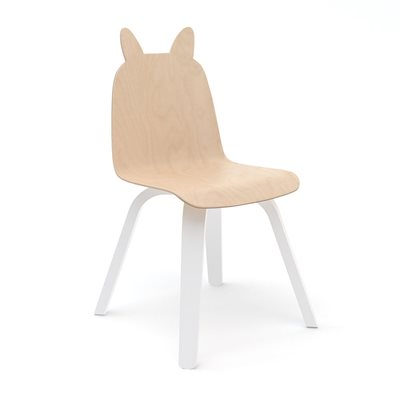 Oeuf Set of 2 Rabbit Play Chairs in White & Birch