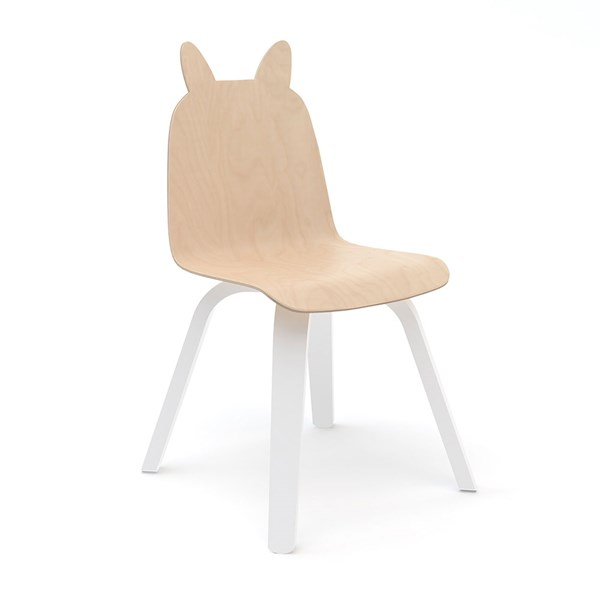 Oeuf Set of 2 Rabbit Play Chairs in White and Birch