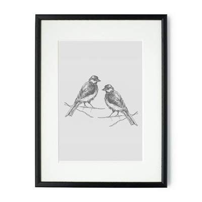 PAIR OF BIRDS FRAMED PRINT by Raw Xclusive