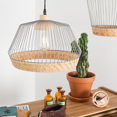 Zuiver Birdy Wire Pendant Light with Braided Rattan Border