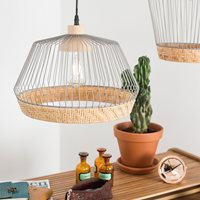 ZUIVER BIRDY WIRE PENDANT LIGHT with Braided Rattan Border  Wide