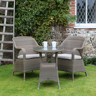 Bistro Polyloom Taupe Wicker Garden Chairs With Small  ...