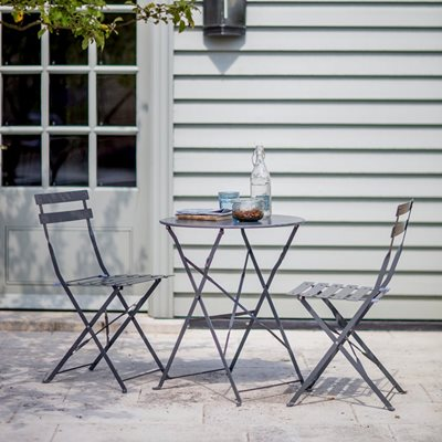 2 SEATER BISTRO TABLE & CHAIRS SET in Charcoal
