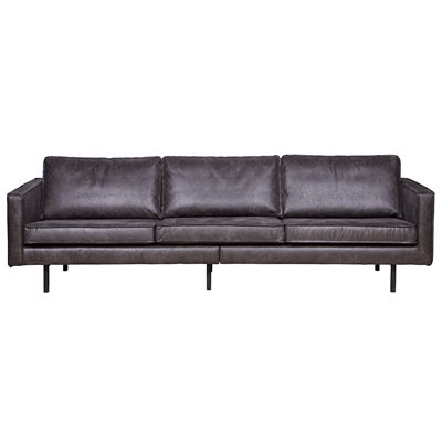 RODEO 3 SEATER LEATHER SOFA in Black
