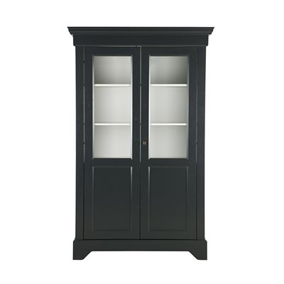 ANNA SOLID PINE DISPLAY CABINET in Black