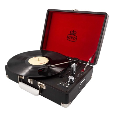 GPO ATTACHE RECORD PLAYER TURNTABLE SUITCASE in Black