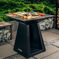 Product photograph showing Quan Quadro Medium Wood Fired Bbq - Corten