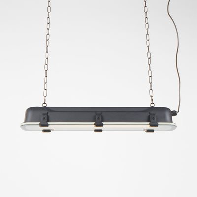 INDUSTRIAL LONG HANGING PENDANT LIGHT in Black