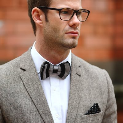 KNITTED BOW TIE in Black and Grey Stripe Design