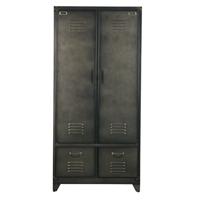 Metal Locker Style Wardrobe In Black - Cabinets, Drawers & Bookshelves