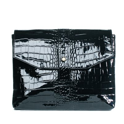 DESIGNER IPAD CASE in Black Crocodile Leather Envelope Design