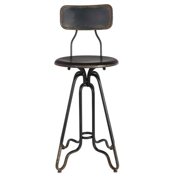 Distressed Iron Counter Stool in Black