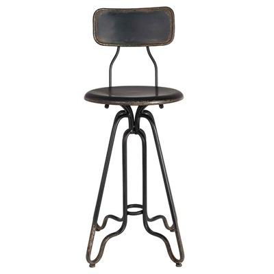 DUTCHBONE OVID DISTRESSED IRON COUNTER STOOL in Black
