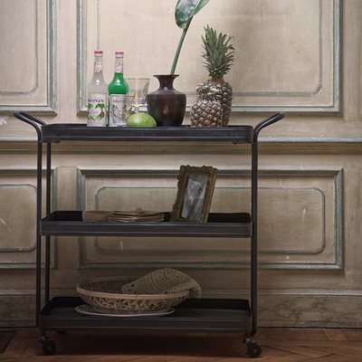 INDUSTRIAL METAL TEA TROLLEY in Black