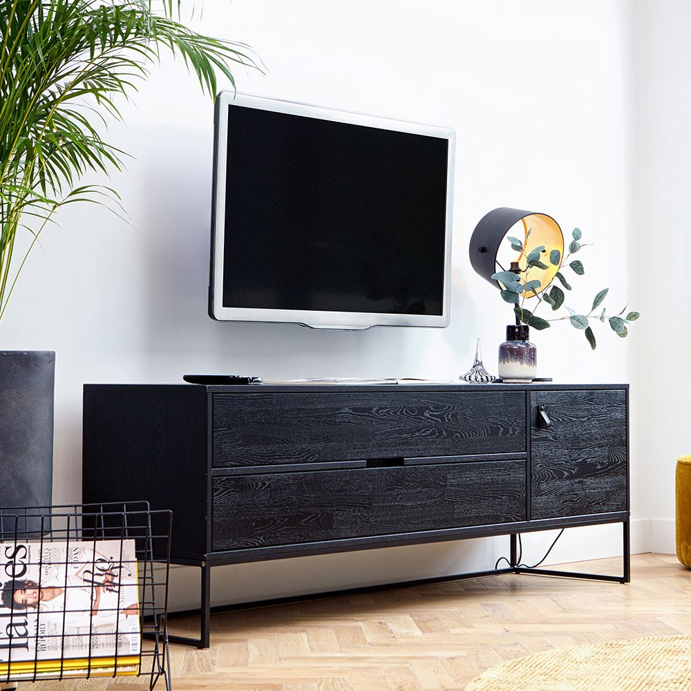reputable site ec49f 2120d Silas Oak TV Unit in Black Night by Woood