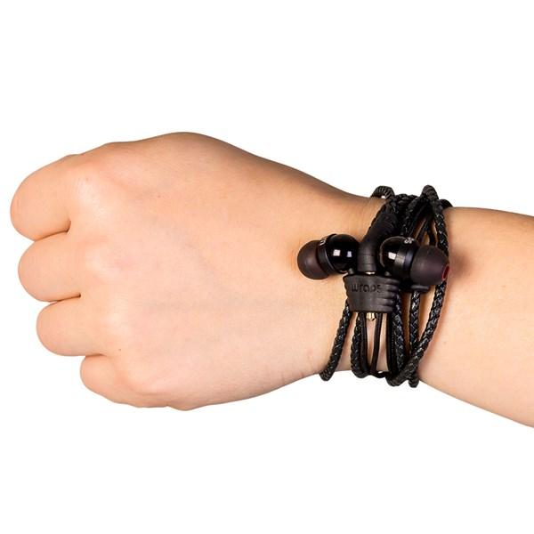 Wraps Premium Wristband Headphones With Microphone in Black