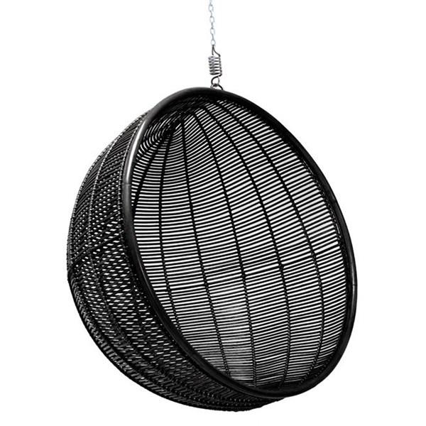 Rattan Indoor Hanging Chair in Black
