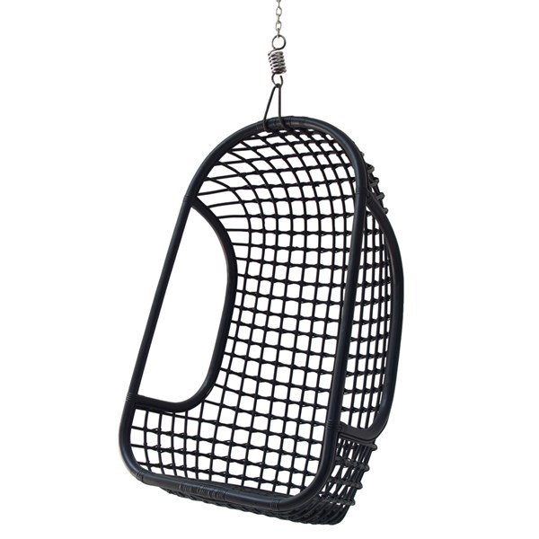 Indoor Rattan Hanging Egg Chair in Black