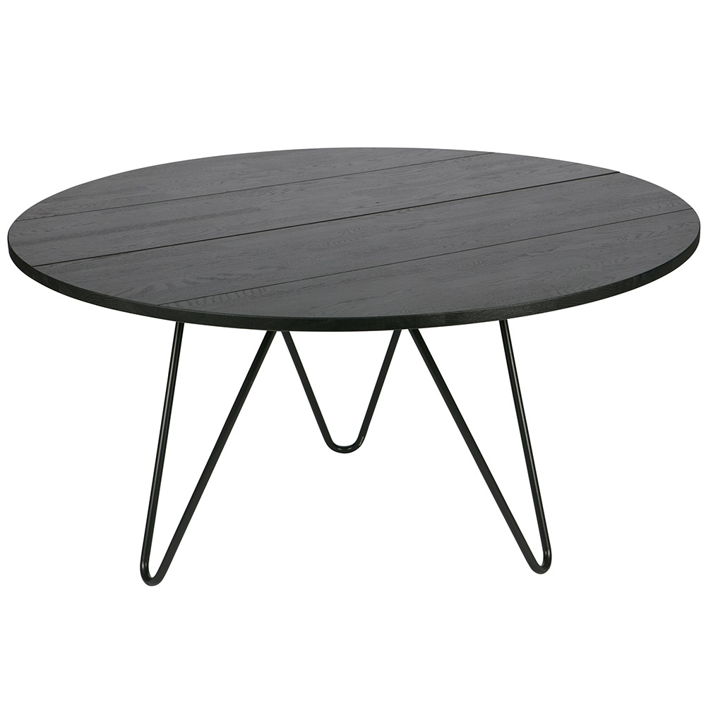 Round dining table with hairpin legs in black oak dining for Table extensible metal bois