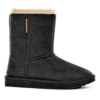WATERPROOF SHEEPSKIN STYLE LADIES SNUG-BOOT WELLIES in BLACK