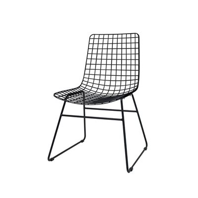 SCANDI STYLE WIRE DINING CHAIR in Black