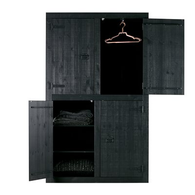MATTE BLACK 4 DOOR PINE WARDROBE