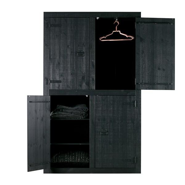 Contemporary Black Pine Wardrobe