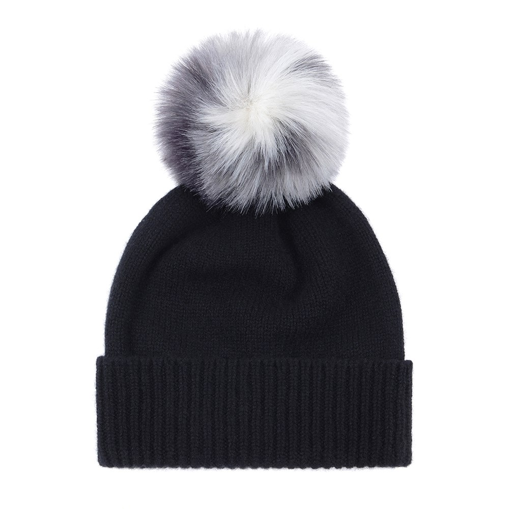2236571c0e1d8c Helen Moore Cashmere Pom Pom Beanie Hat In Black And Arctic Leopard ...